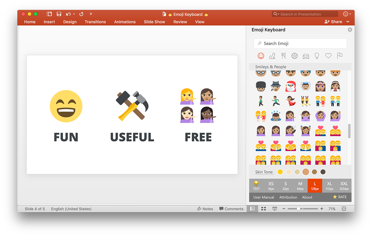 Screenshot of Emoji Keyboard in PowerPoint 2016 for Mac